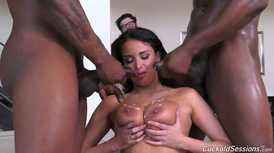French whore wife Anissa Kate goes black in front of her cuckold husband - 24. pic