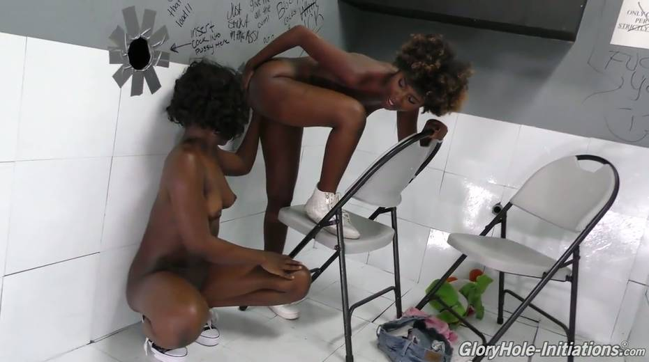 Black chick Noemie Bilas and her kinky girlfriend go wild in the glory hole room - 16. pic