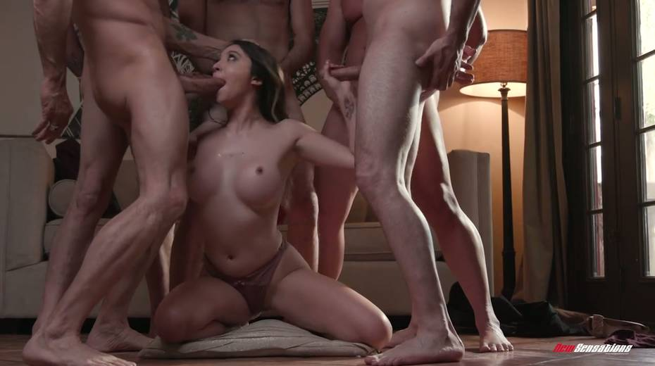 Crazy blowbang video featuring stunning big tittied babe - 13. pic