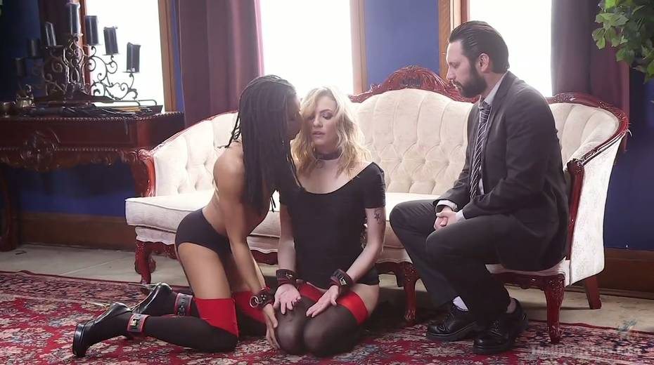Bondage chick Dahlia Sky and her GF are fucked by one kinky dude - 1. pic