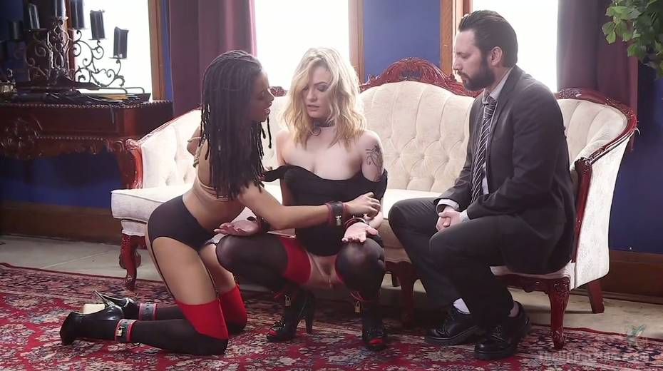 Bondage chick Dahlia Sky and her GF are fucked by one kinky dude - 2. pic