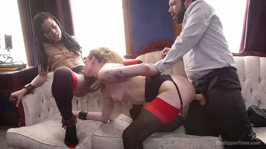 Bondage chick Dahlia Sky and her GF are fucked by one kinky dude - 10. pic