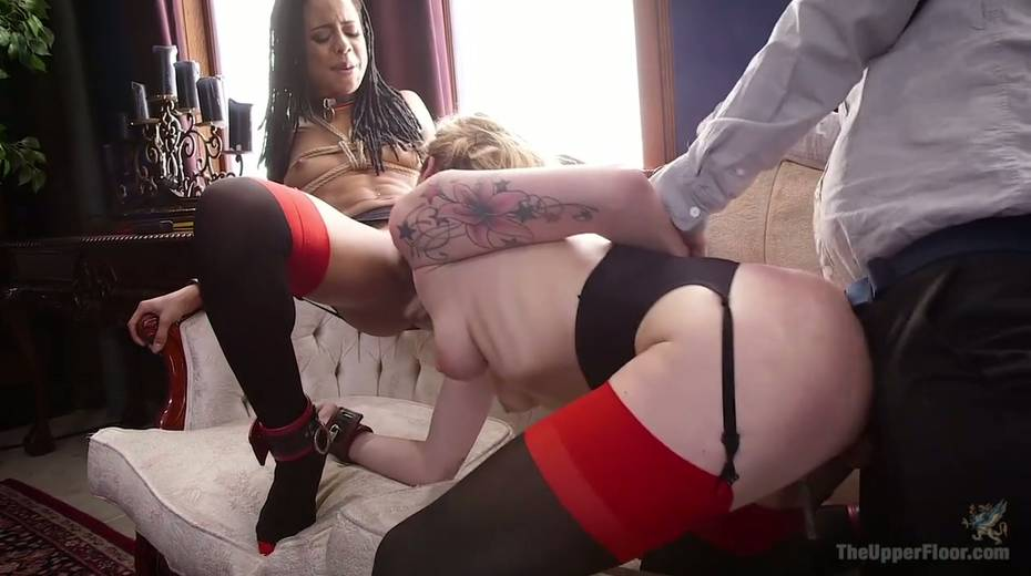 Bondage chick Dahlia Sky and her GF are fucked by one kinky dude - 11. pic