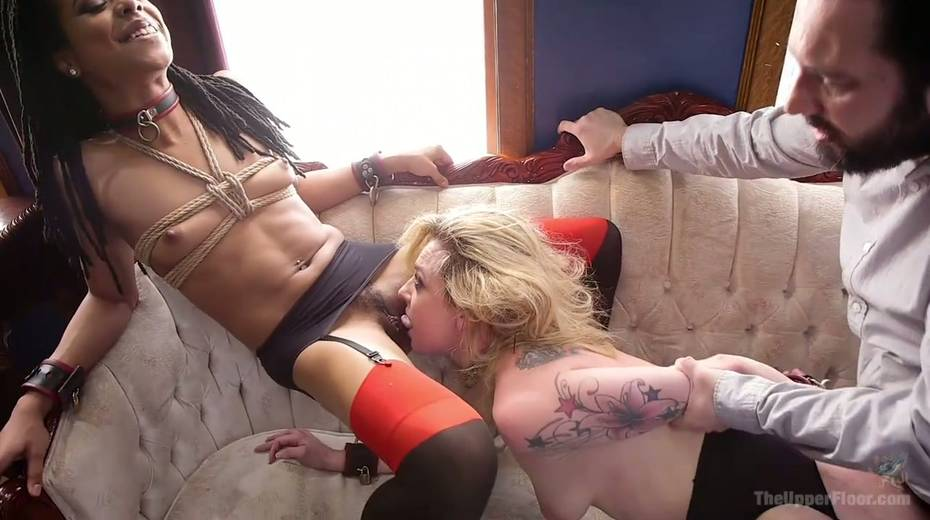 Bondage chick Dahlia Sky and her GF are fucked by one kinky dude - 14. pic