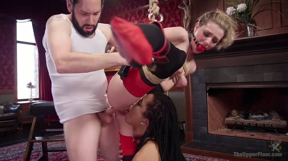 Bondage chick Dahlia Sky and her GF are fucked by one kinky dude - 15. pic