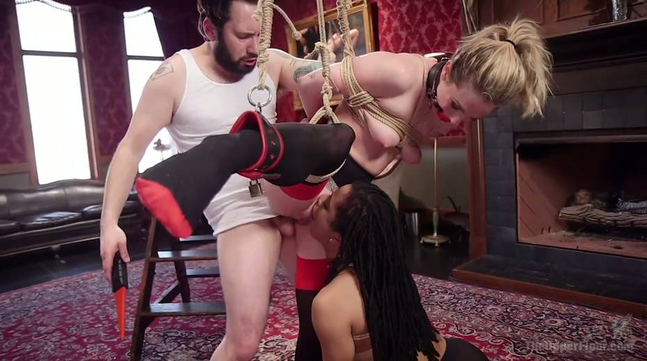 Bondage chick Dahlia Sky and her GF are fucked by one kinky dude - 16. pic