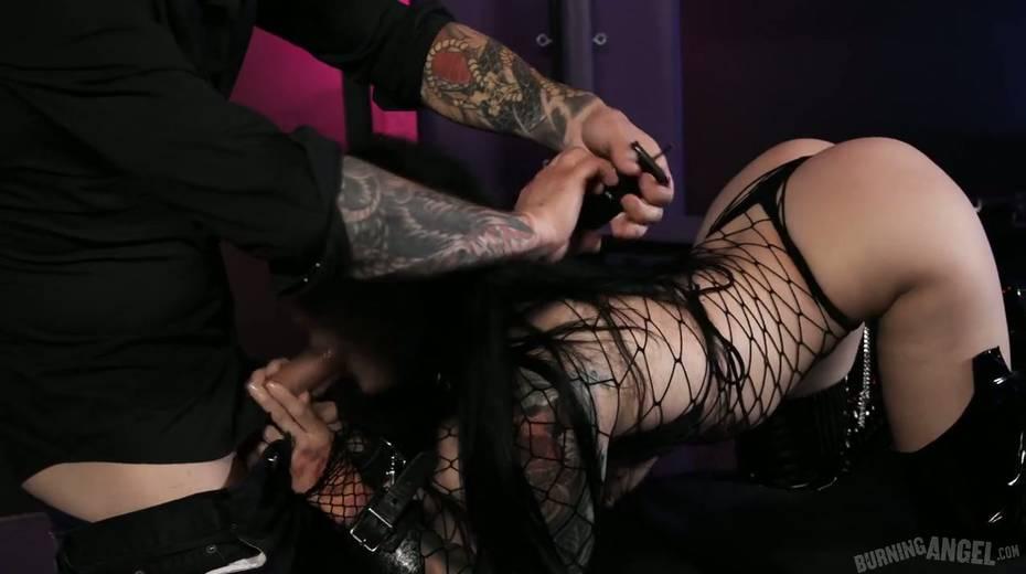 Sassy tattooed slut in body fishnet Katrina Jade is fucked by brutal tattooed dude - 5. pic
