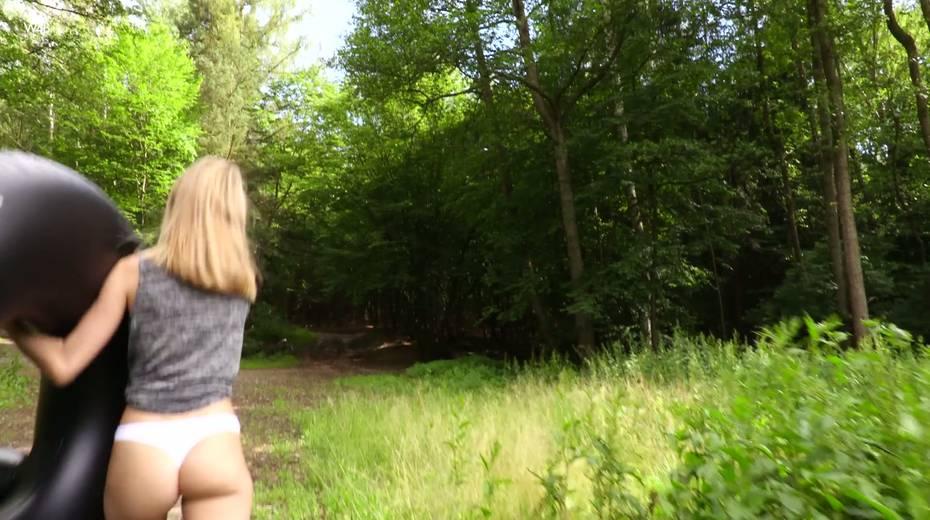 Leggy skinny teen Nancy A is masturbating her slit outdoor - 5. pic