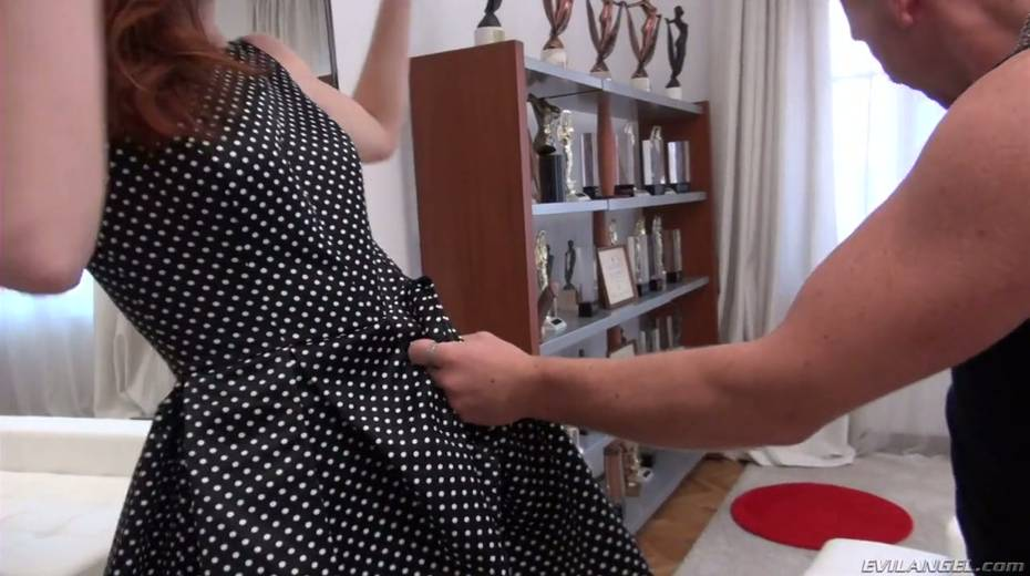 Naughty red haired bitch Alina A is fond of huge dick which drills her throat - 8. pic