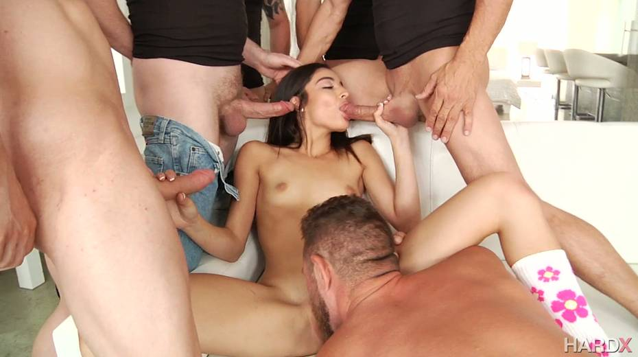 Brunet hottie Emily Willis gets her pussy licked and gives a blowjob to several horny dudes - 10. pic