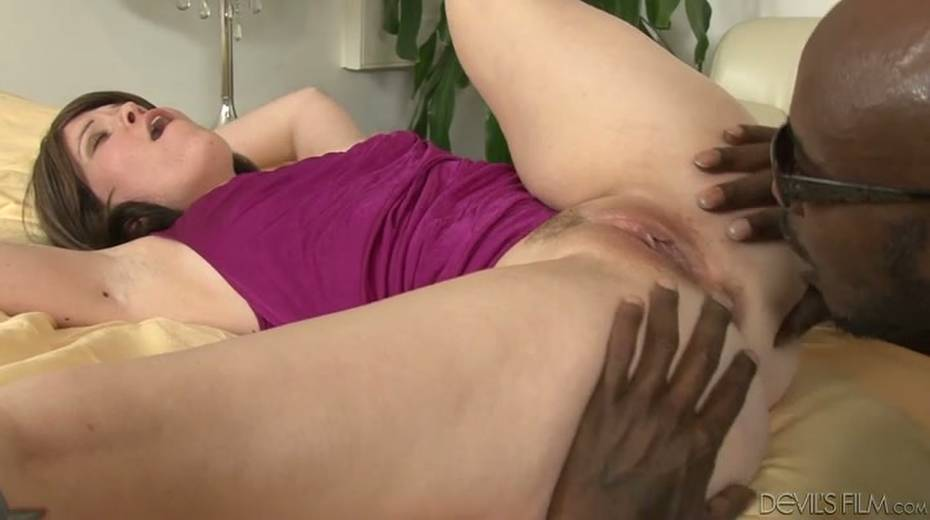 Salacious brunette bitch enjoys foreplay with horny black dude - 11. pic