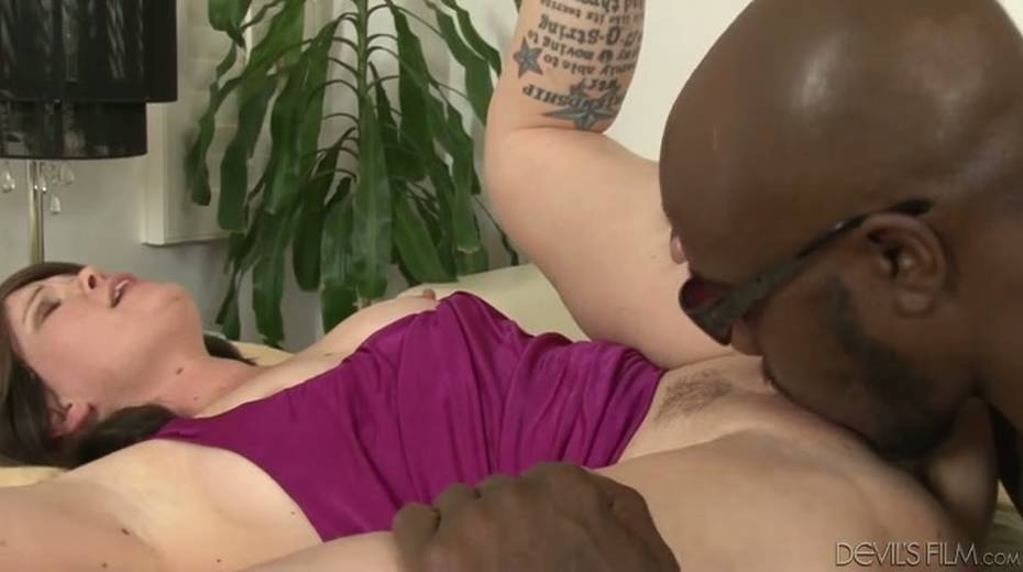 Salacious brunette bitch enjoys foreplay with horny black dude - 12. pic