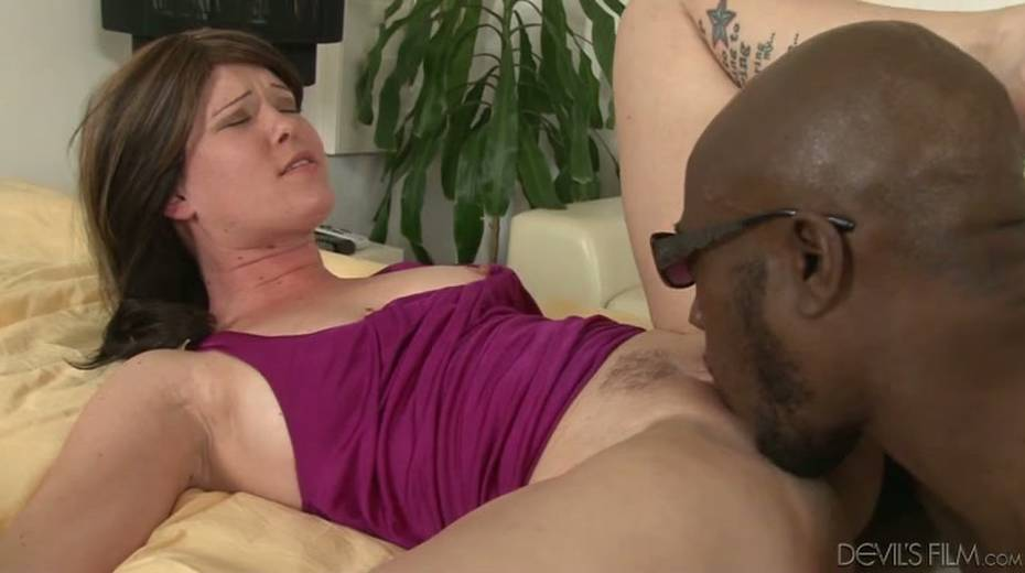 Salacious brunette bitch enjoys foreplay with horny black dude - 14. pic