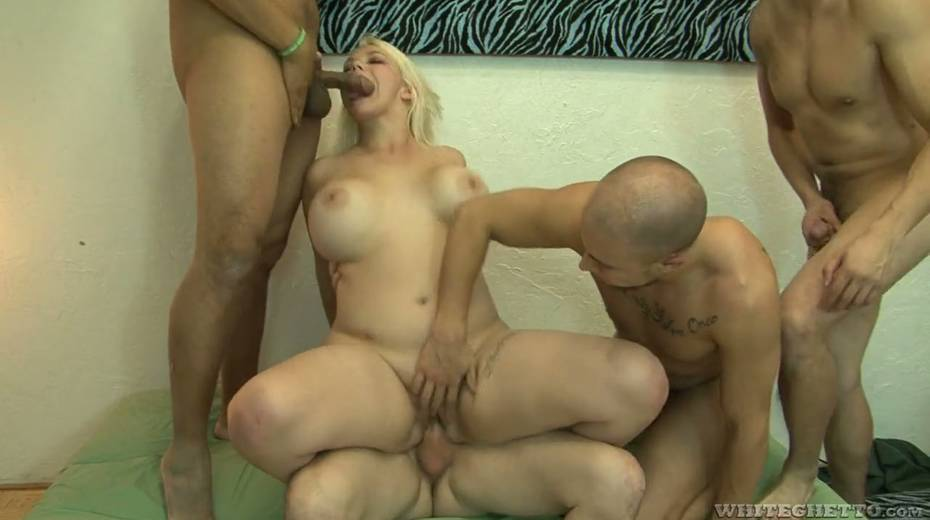 Big bottomed and busty blonde Alice Frost hooks up with bisexual dudes - 16. pic