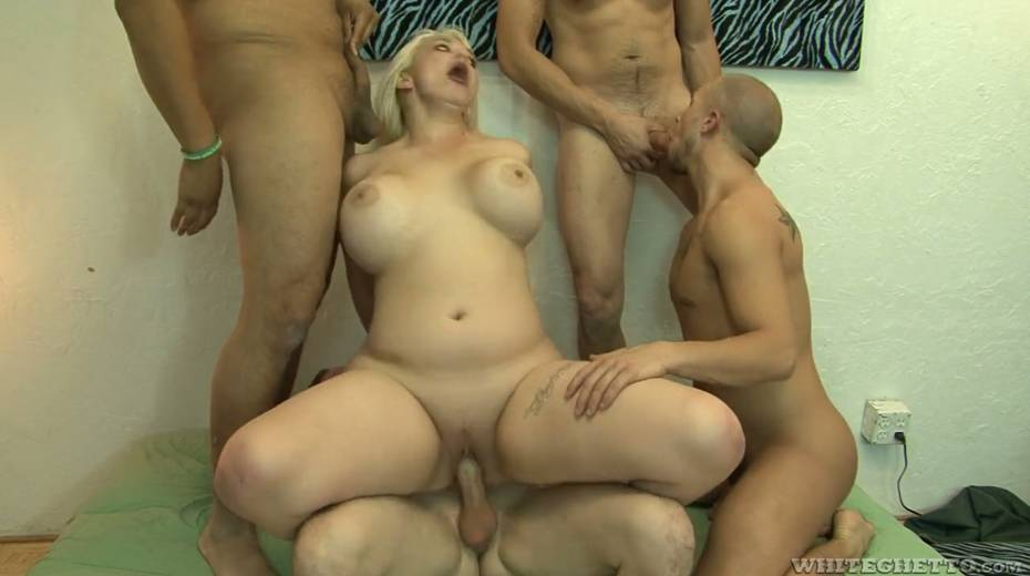 Big bottomed and busty blonde Alice Frost hooks up with bisexual dudes - 17. pic