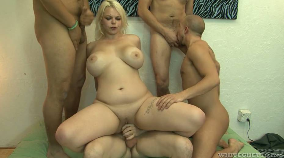 Big bottomed and busty blonde Alice Frost hooks up with bisexual dudes - 18. pic