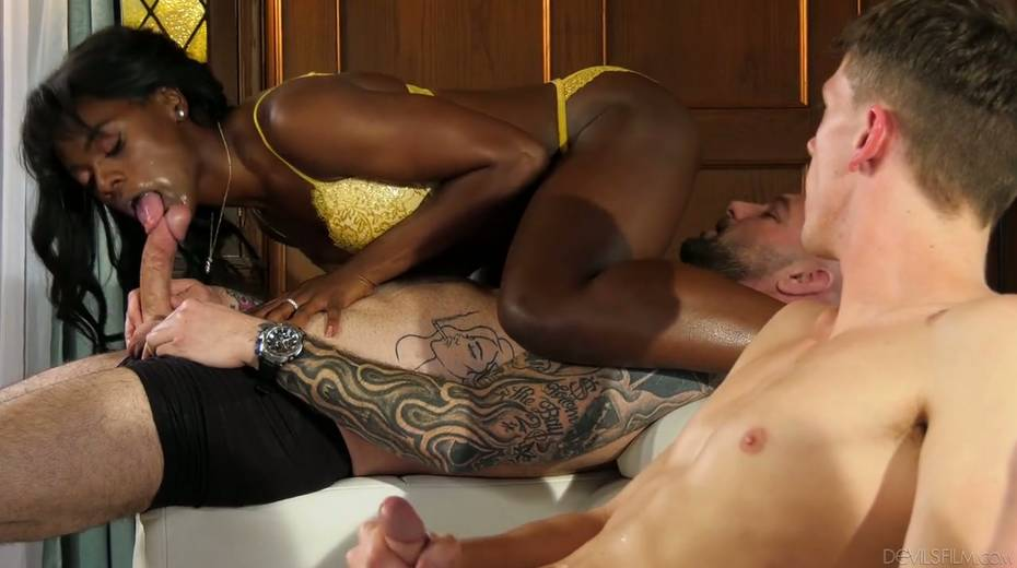 Ebony chick Ana Foxxx is fucked and jizzed by several white dudes - 6. pic