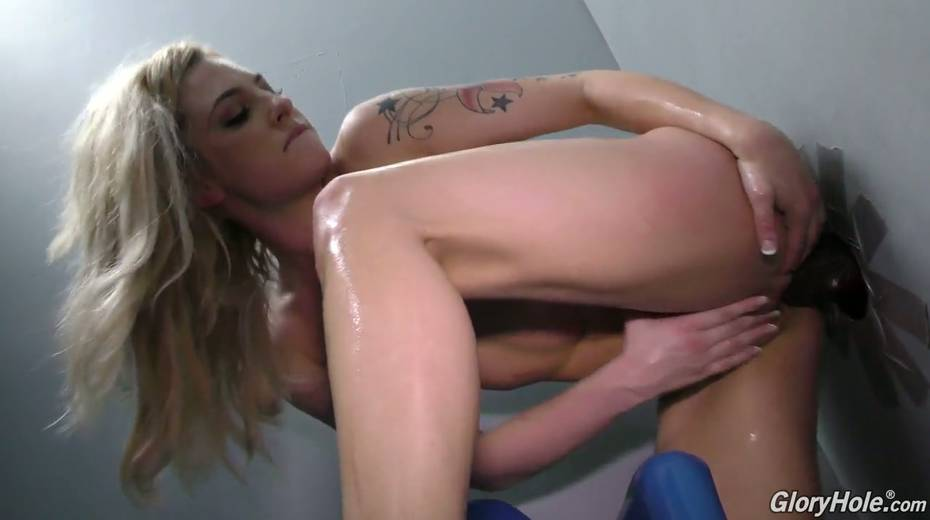 Stunning whore Dahlia Sky impales her slit and anus on hard and big dick in the glory hole room - 18. pic