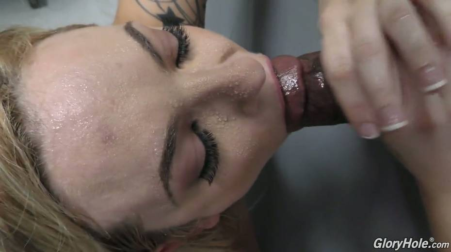 Stunning whore Dahlia Sky impales her slit and anus on hard and big dick in the glory hole room - 24. pic