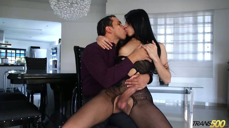 Shemale in ripped pantyhose Lana Davalos rides a dick and gives a blowjob - 3. pic
