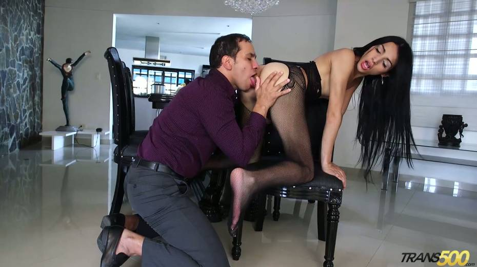 Shemale in ripped pantyhose Lana Davalos rides a dick and gives a blowjob - 7. pic