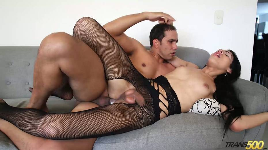 Shemale in ripped pantyhose Lana Davalos rides a dick and gives a blowjob - 12. pic