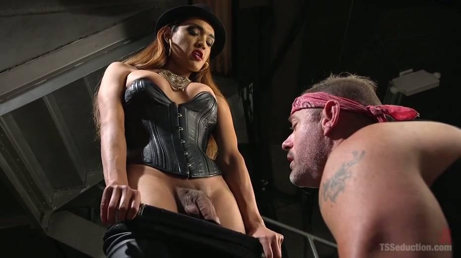 Shemale mistress in corset Jessica Fox fucks tattooed dude - 3. pic