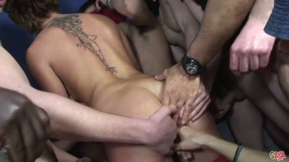 Group of dudes in masks cum on face on one lustful chick - 7. pic
