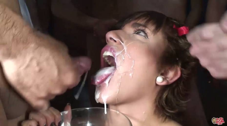 Group of dudes in masks cum on face on one lustful chick - 13. pic