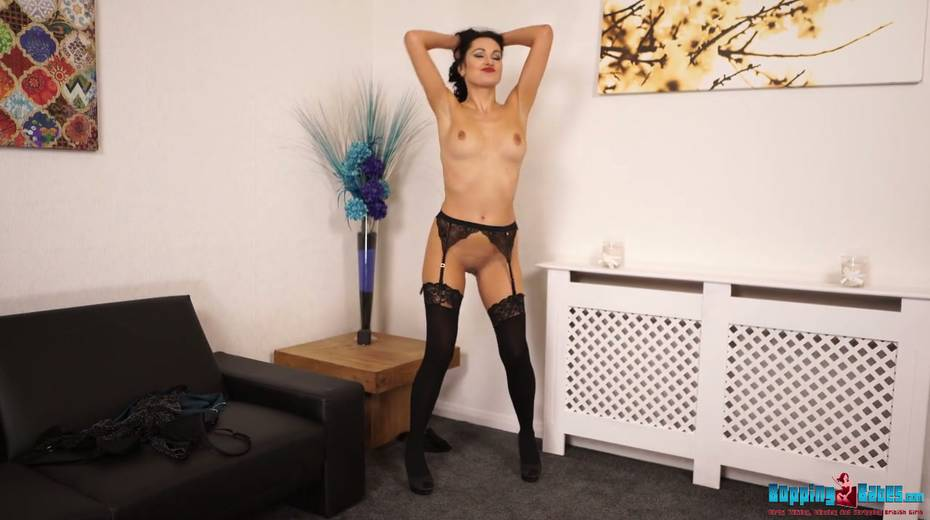 Hot wench in black stockings and garters Bonnie gets naked and dances - 18. pic