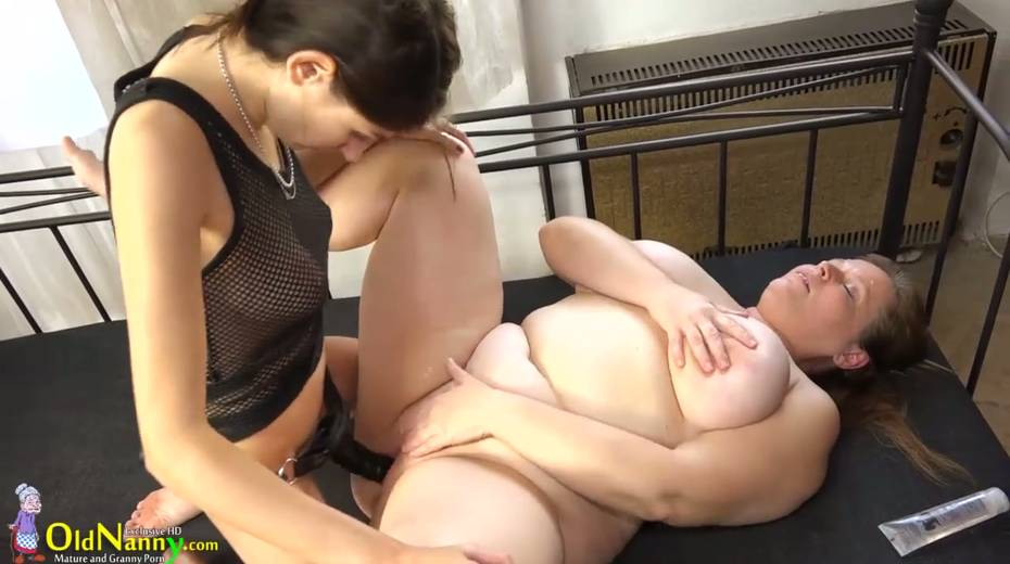 Young lesbian fucks old nanny with strapon in different positions - 3. pic
