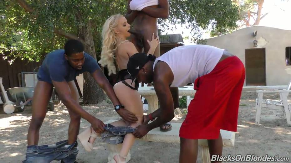 Sexy white chick Bella Jane is fucked by three hot blooded black hunks - 7. pic