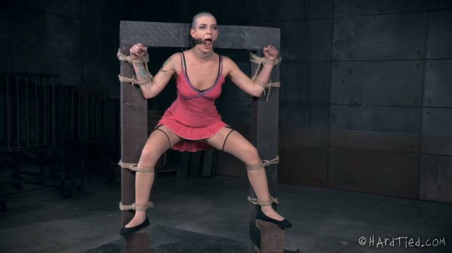 Restrained bald headed gal is punished in the torture room - 5. pic