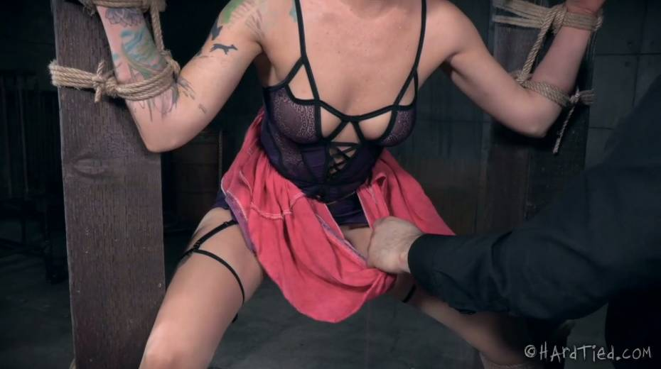 Restrained bald headed gal is punished in the torture room - 12. pic